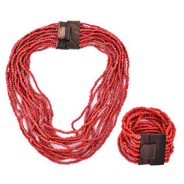 2 Piece Set - Coral Colour Beads Multi Strand Necklace (Size 20) and Bracelet (Size 7.5) with Wooden