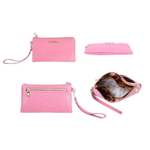Sencillez 100% Genuine Leather RFID Snake-Skin Embossed Clutch Wallet in Pink