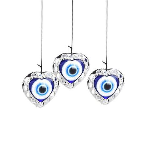 Heart Shaped Eye Wind Chime (Size 13x81cm) - Silver