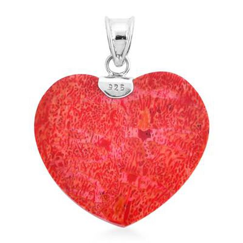 Royal Bali Collection - Red Sponge Coral Heart Pendant in Sterling Silver, Silver wt. 3.50 Gms