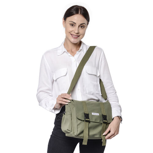 PASSAGE Green Colour Crossbody Bag with Drawstring Pockets on Sides (36x11x24cm)