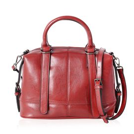 Close Out Deal100% Genuine Leather Wine Colour Tote Bag with External Zipper Pocket and Removable Sh