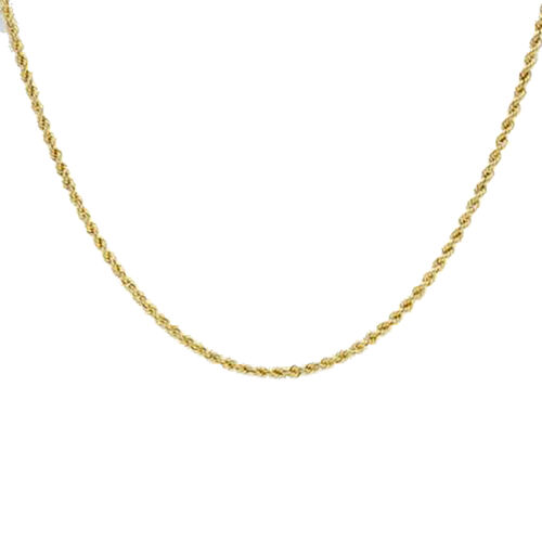 Italian Made- 9K Yellow Gold Rope Necklace (Size 20)