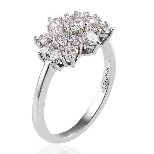 RHAPSODY 950 Platinum IGI Certified Diamond (Rnd) (VS/E-F) Cluster Ring 1.000 Ct.