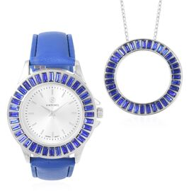 2 Piece Set - STRADA Japanese Movement Water Resistant Simulated Blue Sapphire Studded Watch with Bl