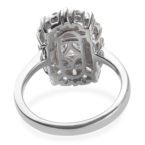 J Francis - Platinum Overlay Sterling Silver (Oct 8x6mm) Ring Made with Swarovski Zirconia
