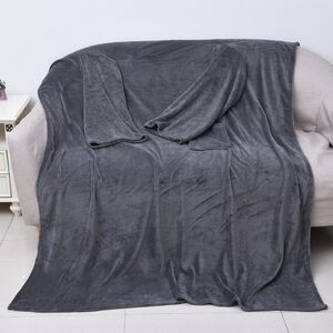 Soft Coral Fleece TV Blanket with Sleeves and Pocket (Size 140x180 Cm) - Grey Colour