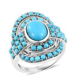 4 Carat Arizona Sleeping Beauty Turquoise Cluster Ring in Platinum Plated Silver 7.30 Grams