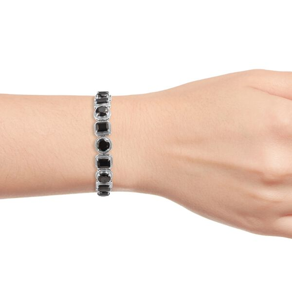 Elite Shungite (Rnd and Oct) Bracelet (Size 7) in Platinum Overlay Sterling Silver 24.50 Ct, Silver wt 23.50 Gms