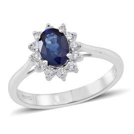ILIANA 1.25 Ct Ceylon Sapphire and SI GH Diamond Ring in 18K White Gold