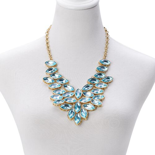 AAA Simulated Sky Blue Topaz Waterfall Cascade Necklace (Size 18 with 2 inch Extender) in Gold Tone