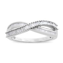 Diamond (Bgt) Crisscross Ring in Platinum Overlay Sterling Silver Ring 0.250 Ct.