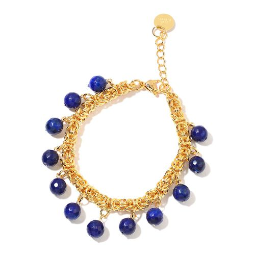 Designer Inspired Rare Lapis Lazuli Beads Byzantine Bracelet (Size 7.5 with 1.5 inch Extender) in Yellow Gold Tone 32.500 Ct.