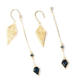 Isabella Liu - Sea Rhyme Collection - London Blue Topaz Drop Earrings in Yellow Gold Overlay Sterlin