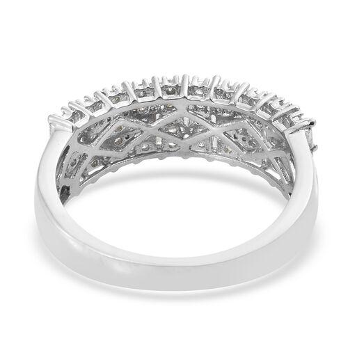 Diamond (Rnd) Ring in Platinum Overlay Sterling Silver 0.755 Ct.