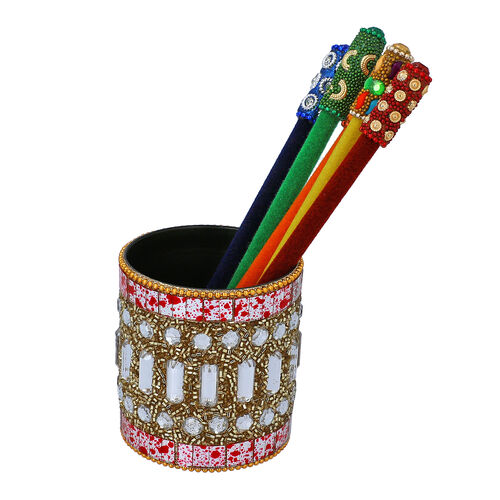 Set of 5 - Velvet Multi Pencil with Beaded Pot