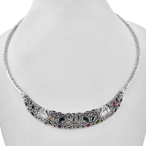 Bali Legacy Collection Multi-Tourmaline Necklace (Size 18) in Sterling Silver 14.20 Ct, Silver wt. 58.10 Gms