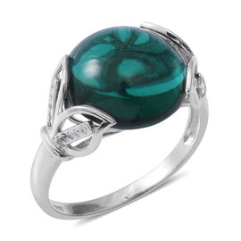ELANZA Simulated Emerald (Rnd 15mm), Simulated Diamond Ring in Rhodium Overlay Sterling Silver