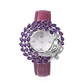 Limited edition - EON 1962 Swiss Movement Amethyst Watch with Genuine Leather Strap in Rhodium Overl