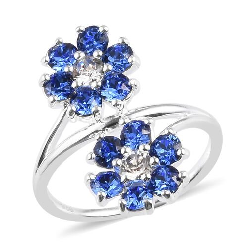 J Francis Swarovski Crystal Bypass Floral Ring in Sterling Silver