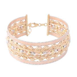 JCK Vegas Collection- Made in Italy 9K Yellow, Rose  & White Gold Diamond Cut Bangle (Size 7 with 1
