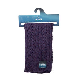 ARAN 100% Pure New Wool Irish Scarf in Purple Colour (Size One)