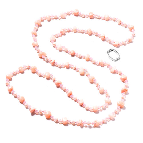 Peach Agate, Simulated Pink and Peach Sapphire Long Strand Beads Necklace (Size 61) 500.00 Ct.