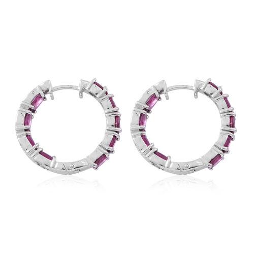 Rhodolite Garnet (Ovl) Hoop Earrings (with Clasp Lock) in Rhodium Plated Sterling Silver 10.000 Ct. Silver wt 9.20 Gms.
