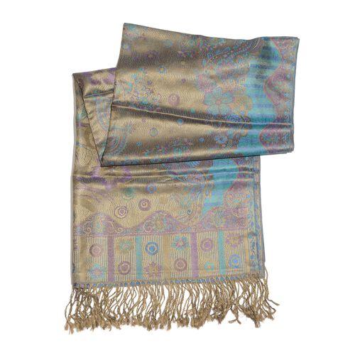 SILK MARK - 100% Superfine Silk Blue and Multi Colour Floral Pattern Jacquard Jamawar Scarf with Tassels (Size 180X70 Cm)