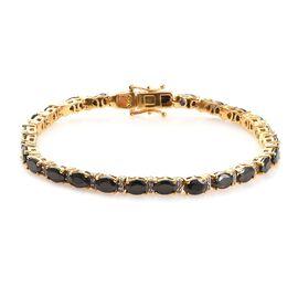 GP 7.18 Ct Elite Shungite and Multi Gemstone Tennis Bracelet in 14K Gold Plated Silver 7.5 Inch