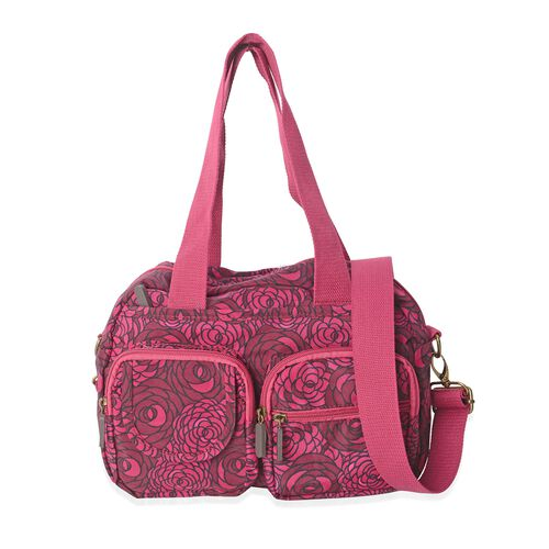 Annabelle Water Resistant Dark Fuchsia Flower Pattern Large Tote Bag with Removable Shoulder Strap a