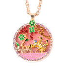 Pink Quartzite, Simulated Emerald and Multi Colour Austrian Crystal Enamelled Floral vine and Crane