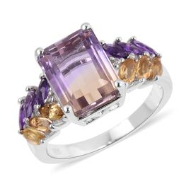 Natural Anahi Ametrine (Oct 10x8 mm), Amethyst, Citrine and Natural White Cambodian Zircon Ring in R