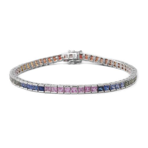 8.55 Ct AA Rainbow Sapphire Tennis Bracelet in Rhodium Plated Sterling Silver 11.34 Grams 7.75 Inch