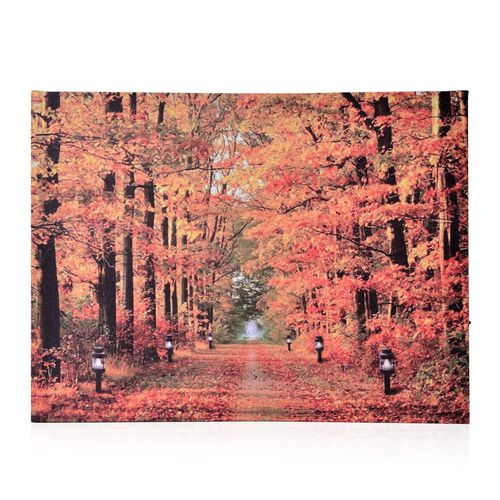 (Option 4) Wall Decor - LED Lights Maple Tree Forest Wooden Frame Wall Hanging (Size 40X30 Cm)