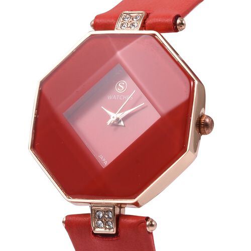 STRADA Japanese Movement White Austrian Crystal Studded Water Resistant Watch with Red Strap