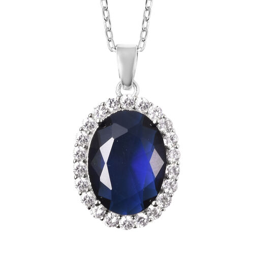 OTO - 4 Piece Set -  Simulated Blue Sapphire and Simulated Diamond Ring, Necklace (Size 20 with 2 inch Ext.), Barcelet (Size 8 with Extra Clasp) and Earrings (with Clasp) in Silver Tone