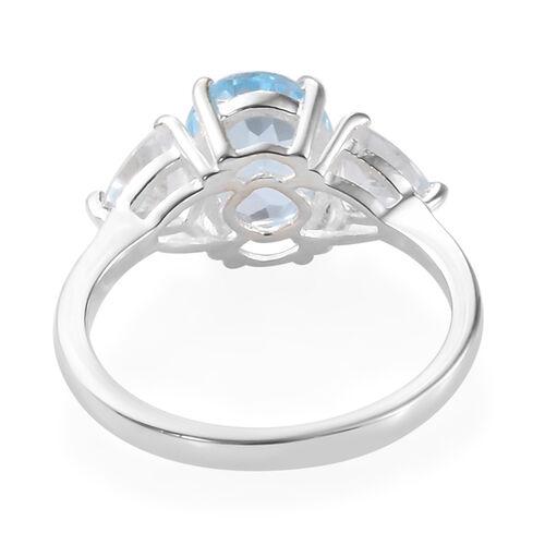 Mega Day Cracker Deals- Sky Blue Topaz (Ovl 9x7 mm 2.00 Ct), White Topaz 3 Stone Ring in Sterling Silver 3.000 Ct.