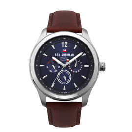 Ben Sherman Navy Sunray Dial Mens Watch with Brown Leather Strap