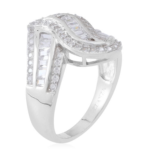 ELANZA AAA Simulated White Diamond (Bgt) Ring in Rhodium Plated Sterling Silver