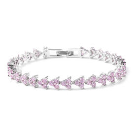 6.02 Ct Pink Cubic Zircon Tennis Bracelet 7 Inch