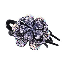 Three Teeth Flower Duck Clip - Dark Violet, Light Violet and AB Colour