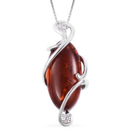 Baltic Amber (Ovl 18x9mm), Natural White Cambodian Zircon Pendant with Chain (Size 18) in Rhodium Plated Sterling Silver 2.600 Ct.