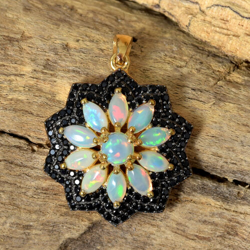 Ethiopian Welo Opal (Mrq), Boi Ploi Black Spinel Flower Pendant in 14K Gold Overlay with Black Plating Sterling Silver 3.500 Ct., Silver wt 5.38 Gms., Number of Gemstone 131