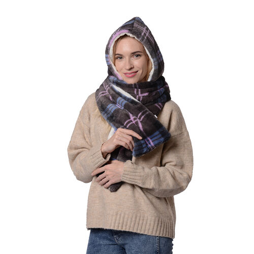 Ultra Soft Plaid Hooded Circle Scarf (Size 17x200cm) - Blue, Black and Purple