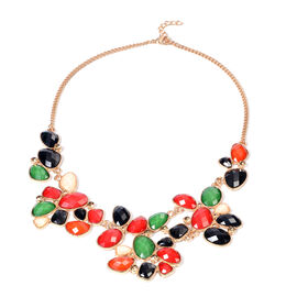 Champagne Austrian Crystal and Multi Gemstone Necklace (Size 21 with Extender)