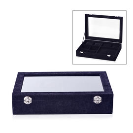 Iced Velvet Jewellery Box (Size 35x24.3x7.6 Cm) with Different Sections and Glass Window - Black
