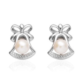 Fresh Water Pearl (Rnd) Stud Earrings (with Push Back) in Platinum Overlay Sterling Silver