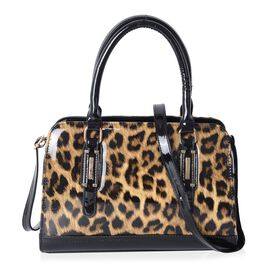 HONG KONG CLOSE OUT- High Glossed Leopard Pattern Handbag with Adjustable and Removable Shoulder Str