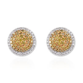 Yellow and White Diamond (Rnd) Stud Earrings (with Push Back) in Platinum Overlay Sterling Silver 0.759 Ct, Number of Diamonds 144.